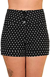 Retro 4 Button Sailor High Waist Cuffed Shorts